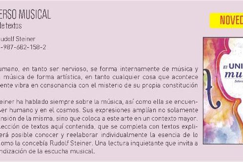 """Rudolf Steiner """"El Universo musical"""""""
