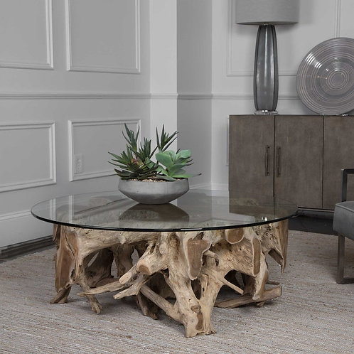 Round Teak Root Coffee Table, Coffee Table, Teak Root Glass Top Coffee Table, Un