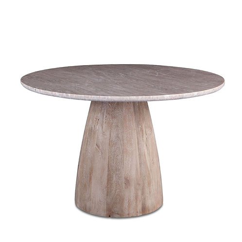 "Palm Springs 48"" Round Dining Table Brown Lajaria Marble, Mango Wood Base"
