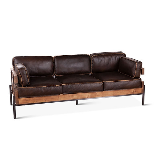 Portofino Leather Black Sofa