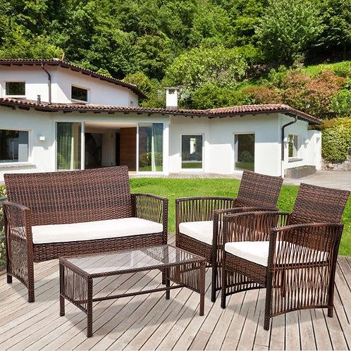 4 Piece Outdoor Furniture, Patio Set Outdoor, Sofa Armchair Rattan Chair Table