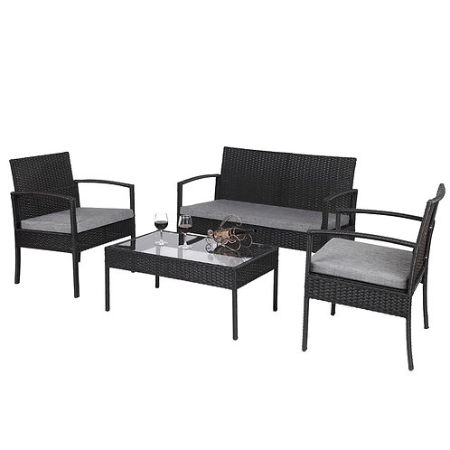 Outdoor Patio Furniture Set, 4 Piece Outdoor Patio furniture Set With Table Sofa