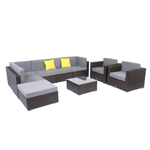 9 Piece Outdoor Furniture Set, Outdoor Living Room, Outdoor Sectional Sofa