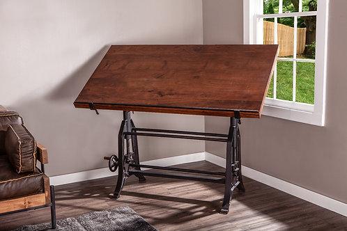 """Industrial Loft 62"""" Adjustable Drafting Desk Walnut"""