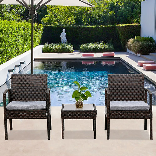 Outdoor Furniture Set, 3 Piece Patio Furniture Set, Wicker Rattan Outdoor Patio
