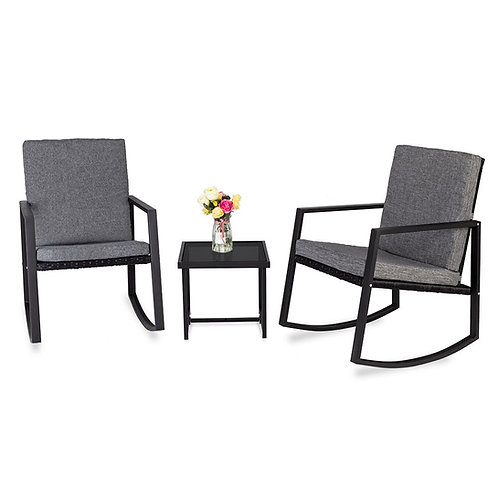 Outdoor Patio  Furniture Set 3 PCS Rocking Chairs Set Outdoor Patio Furniture