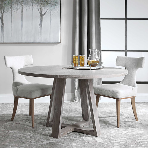 Elm Wood Round Dining Table