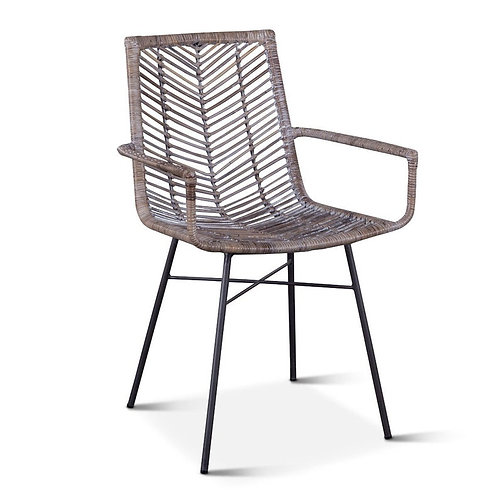 Wicker Arm Dining Chair Gray