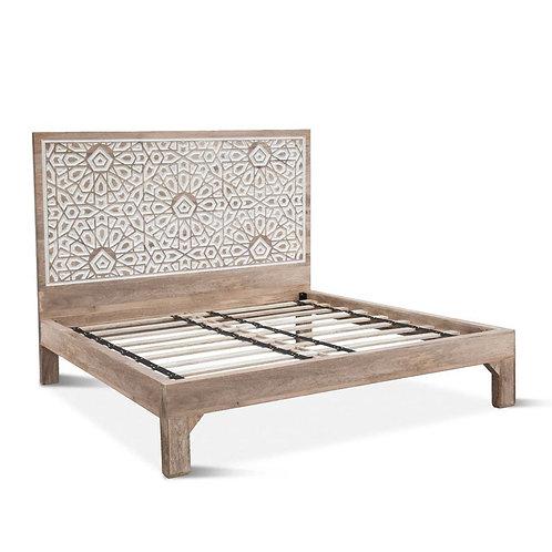 Carved King Bed Whitewash