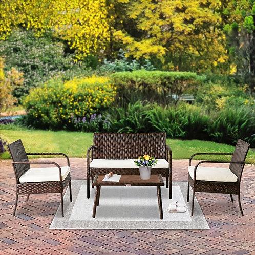 5 Piece Outdoor Furniture Set, Patio Furniture Set, Outdoor Coffee Table, Rattan