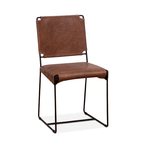 New York Armless Chair Tobacco Leather