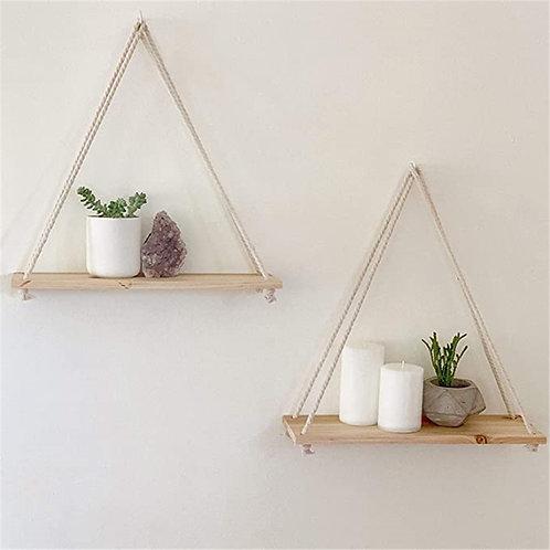 Hanging Shelves Rope Hanging Shelf [w/ Hooks] Floating Shelves Farmhouse Rustic