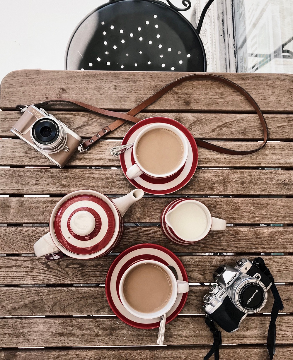 Penn and E-M10 Cameras Biscuteers Notting Hill Stripe tea set