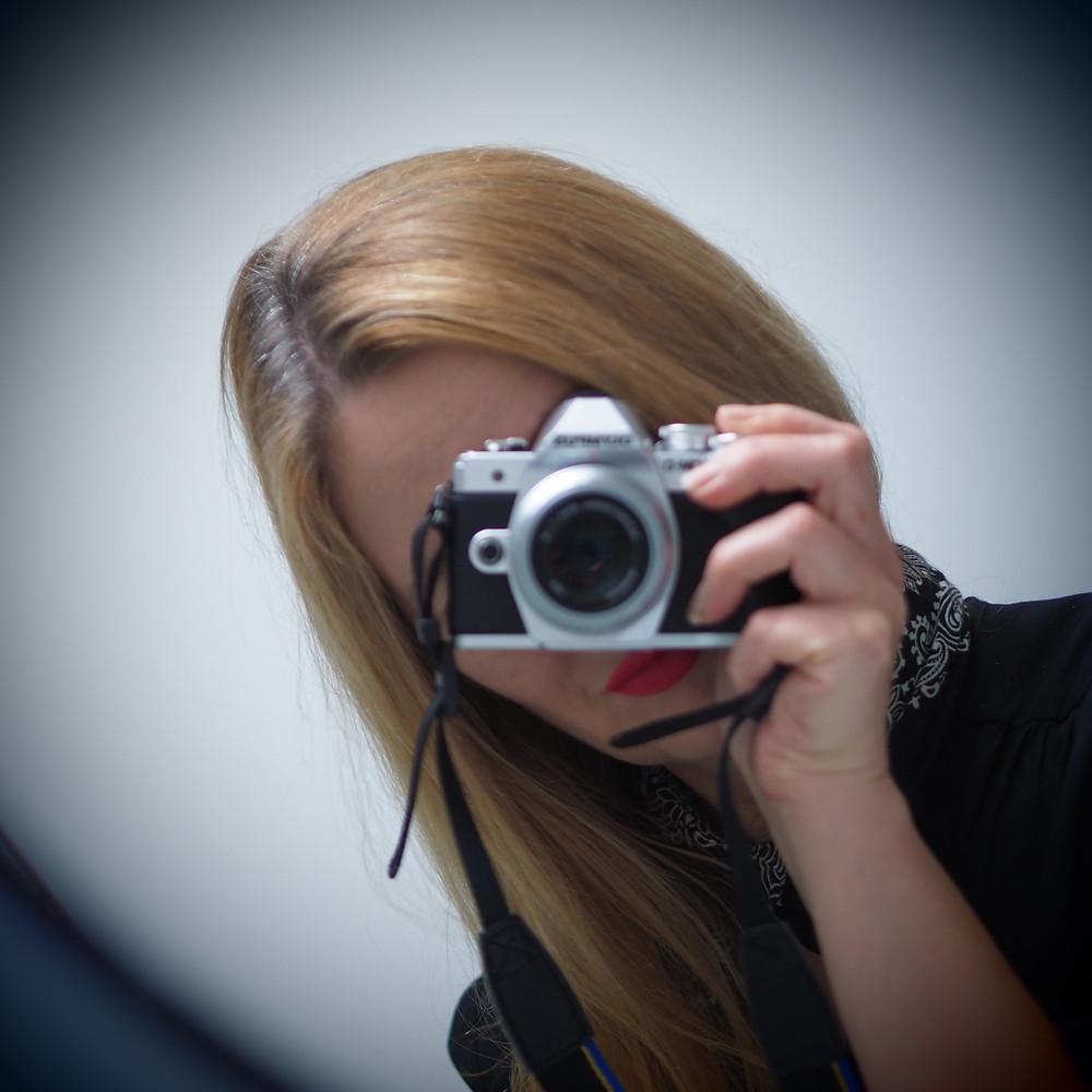 Self portrait in mirror with Olympus E-Mark III M.Zuiko Digital 45m lens