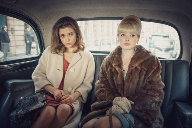 Sophie Cookson and Ellie Bamber . Trial of Christine Keeler BBC .