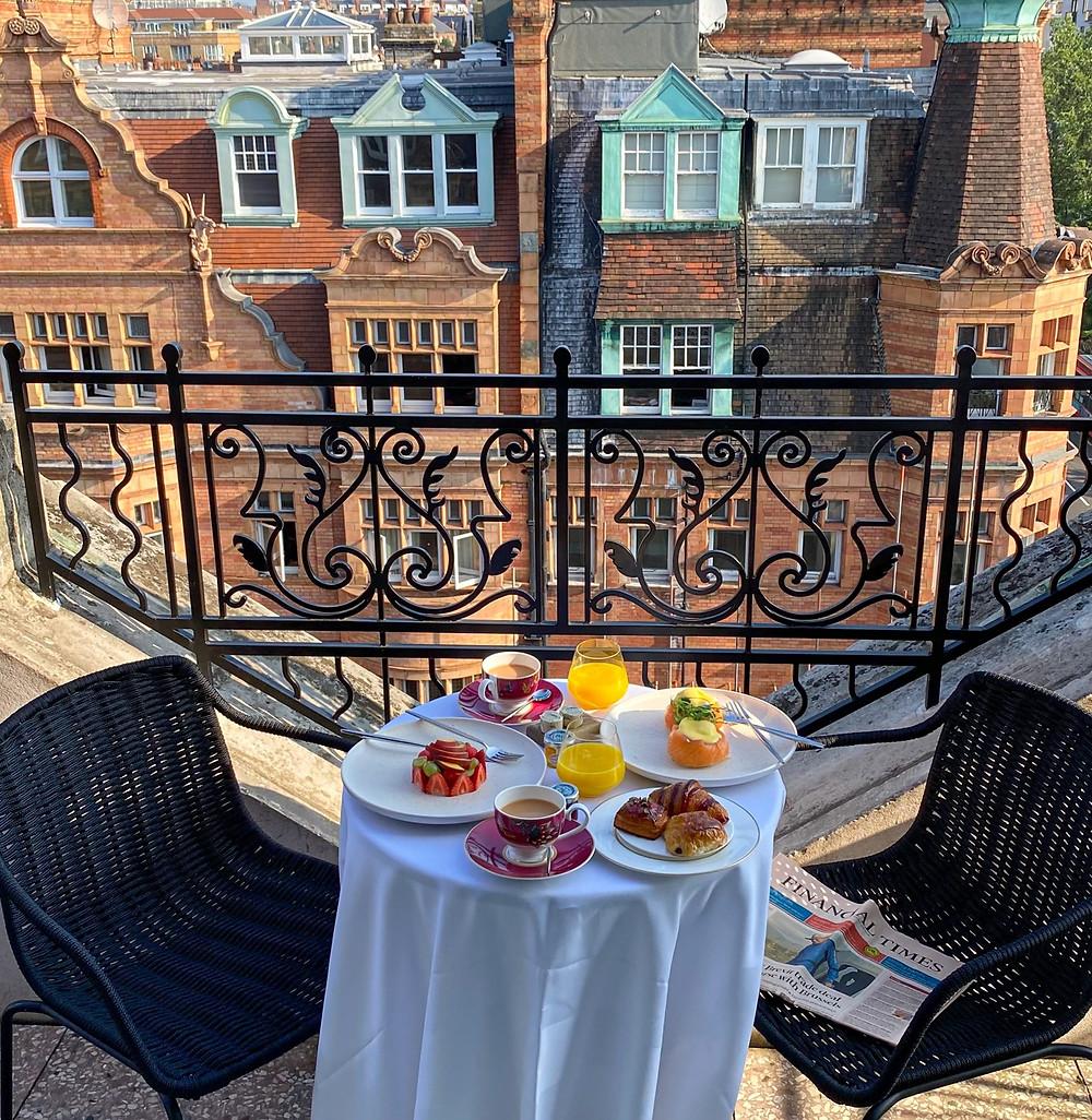 Roof top terrace London Hotel Breakfast . Belmond Cadogan Hotel