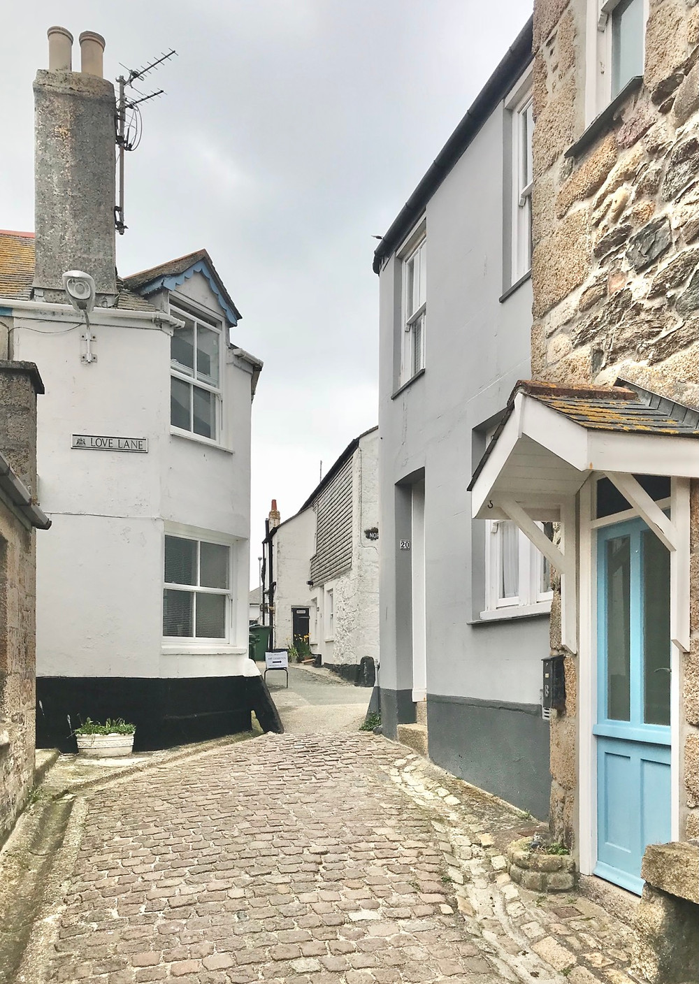 Traditional Houses of St Ives Cornwall surrounded by  cobbled streets
