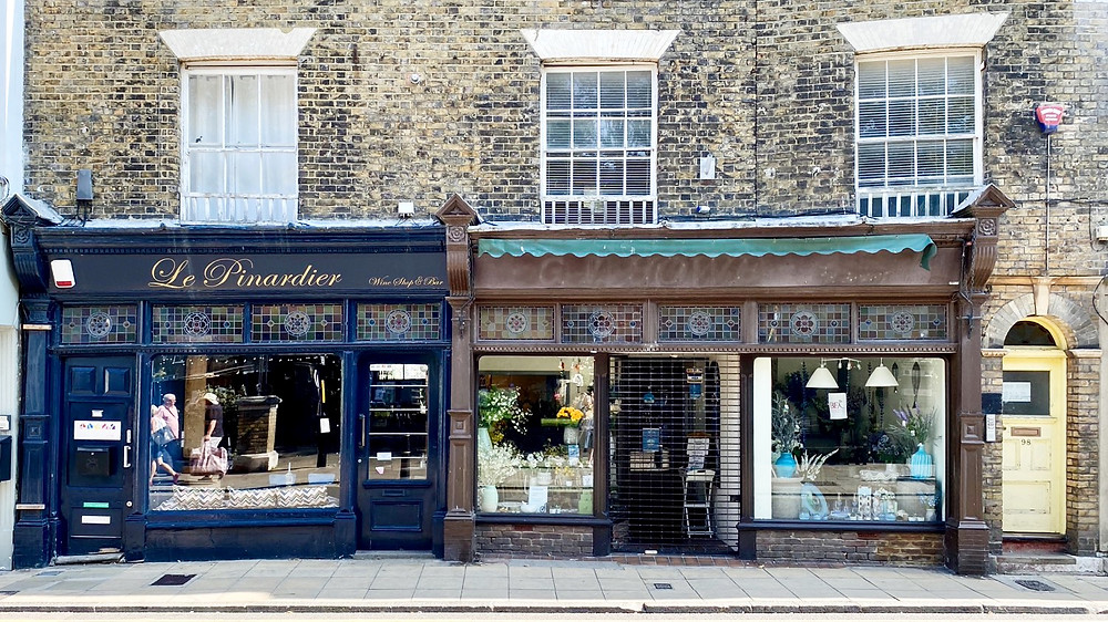 Shops in the historic high street in the conservation area of Deal, Kent . UK