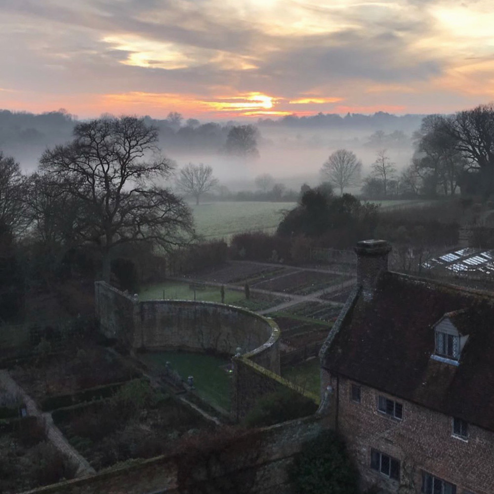 Sissinghurst Garden Kent . View from the tower in Winter at sunset