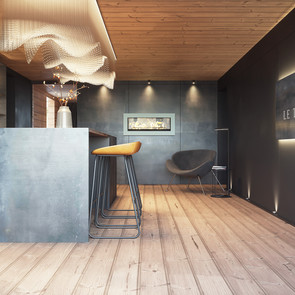 Chalet bar room with fireplace