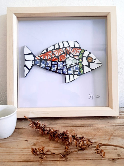 """Framed  Vintage Mosaic Finned Fish """"Koi Coral"""""""