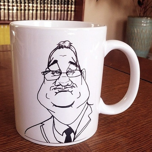 B/W Caricature on White Ceramic Mug