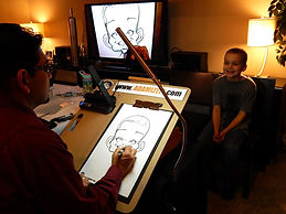 Caricaturist, Live Digital Caricatures, corporate events, anniversaries, weddings, company parties, tradeshows, ideas for entertainment, mitzvahs, 50th birthday party, unique ideas, company functions