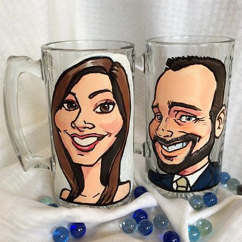 Bride and Groom Glass Mugs