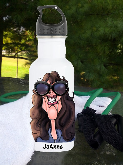 Caricature on a White Water Bottle w/Name