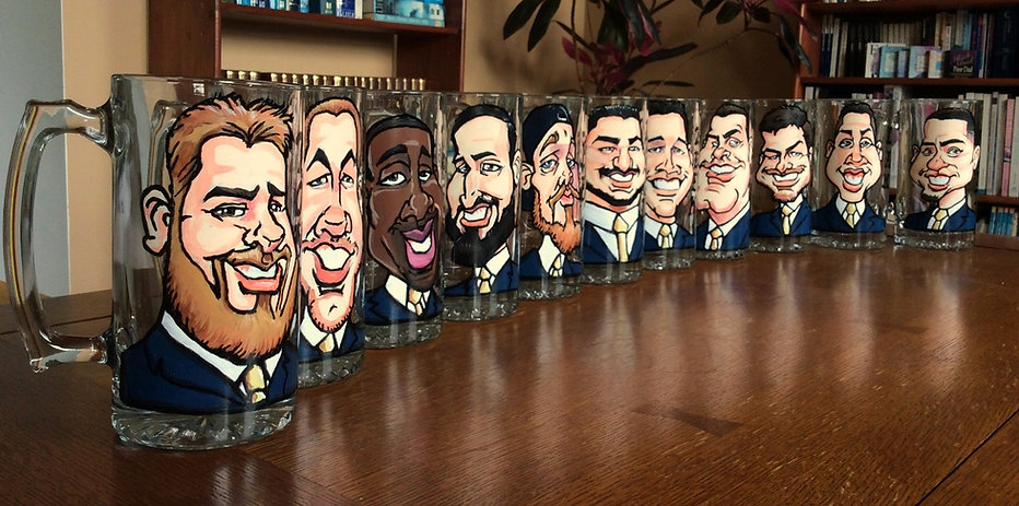 11 Hand Painted Caricatures on Glass Mugs