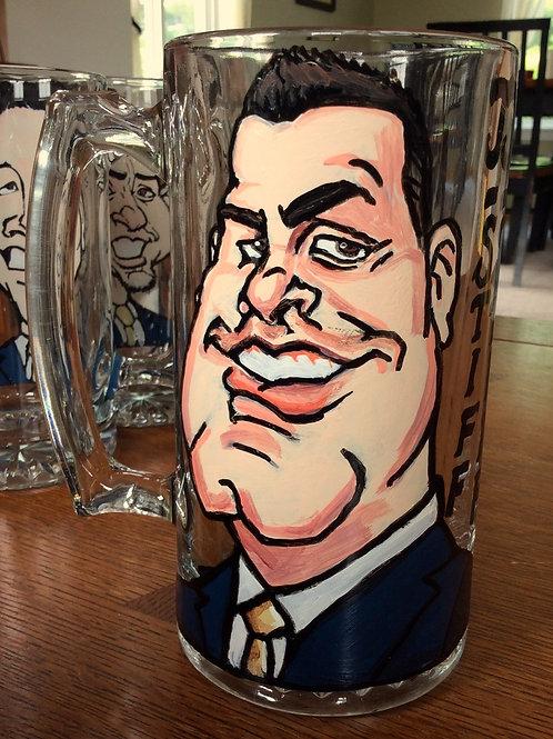 Hand Painted Caricature on a Glass Mug