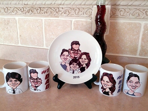 4 Color Caricatures on Ceramic Mugs & Porcelain Plate w/Text