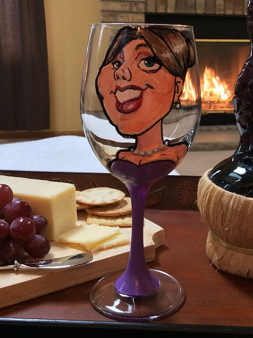 Hand Painted Caricature on a 20 oz. Wine Glass