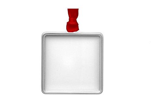 Customized Caricature on Square Silver Ornament