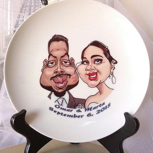 2 Color Caricatures on Porcelain Plate w/Text