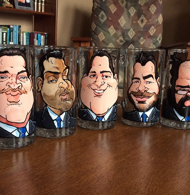 5 Hand Painted Caricatures on Glass Mugs