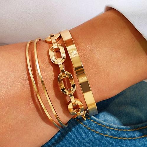 """Link Up"" Cuff Bracelet Set"