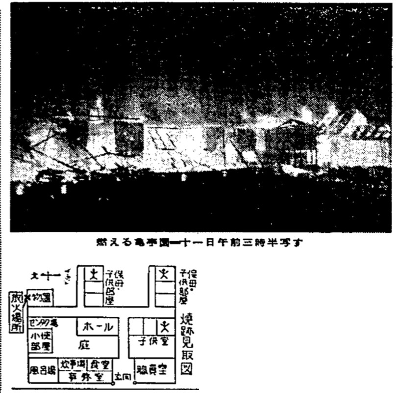 "Picture and blueprint of Kitei-en. The photo was taken on Dec.11, 1956 and published by the Asahi Shimbun the following day When Junko Iizuka was 14 years old, a report describing her as a ""problematic child"" was created by Miyagi prefectural welfare office and sent to the prefecture's central children's guidance center."