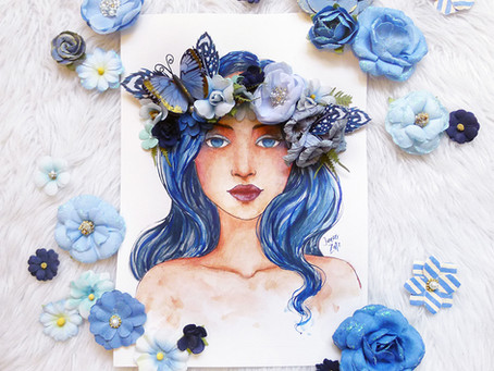 Cerulean Goddess Mixed Media Portrait