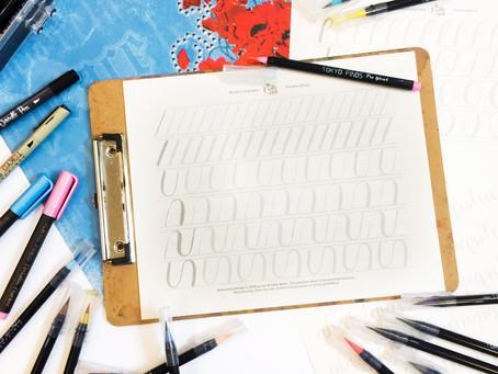 Basic Brush Calligraphy Practice Sheets [FREEBIE]