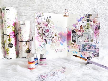 Poetic Rose Art Journal Spread
