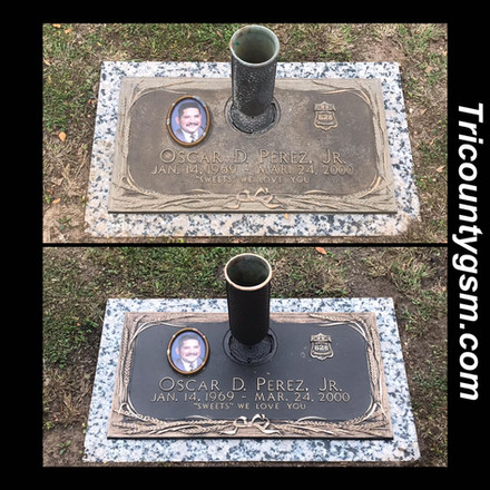 Headstone cleaning.