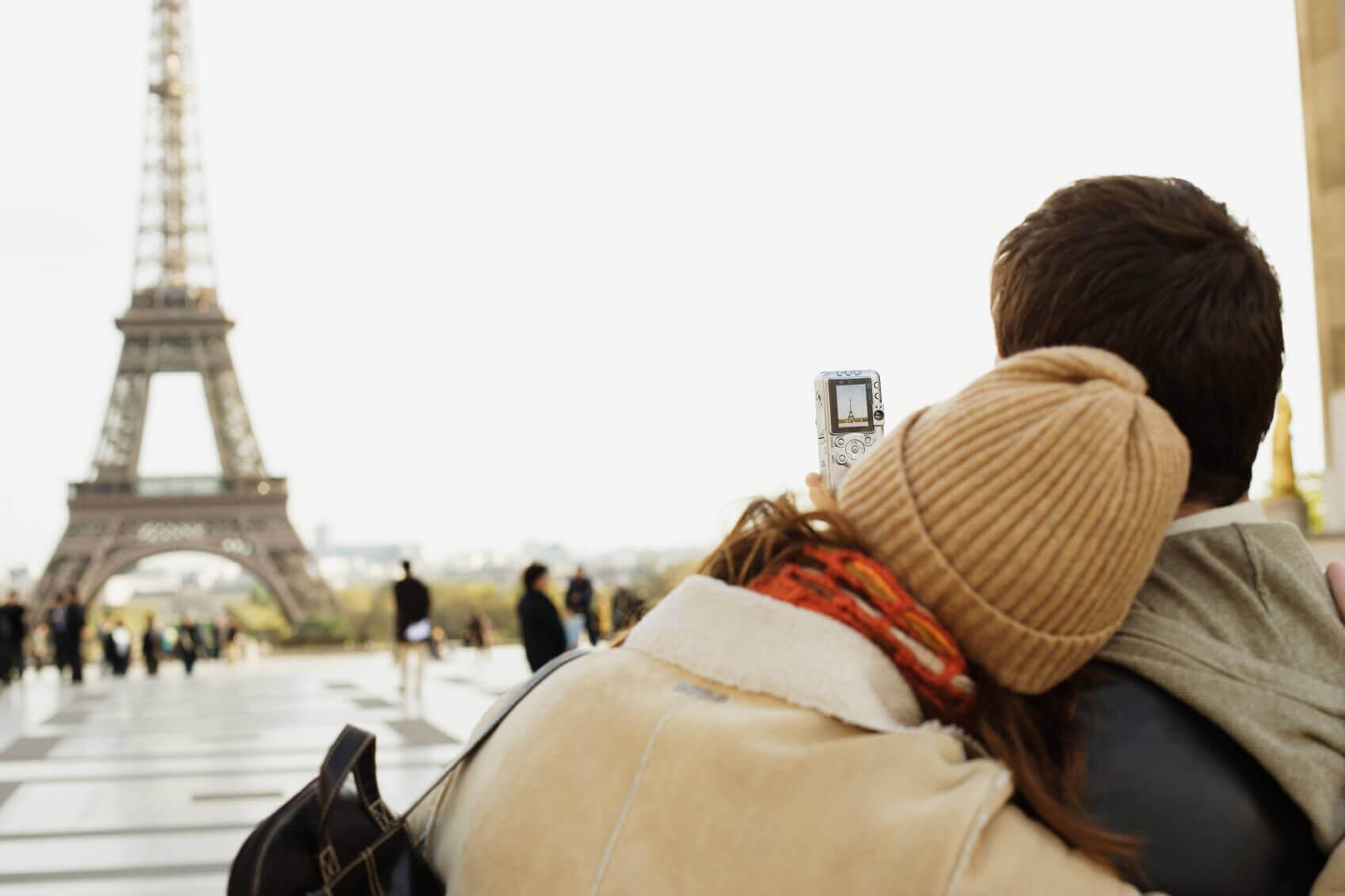 A couple in Paris on honeymoon