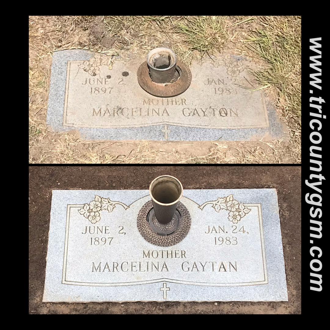 Headstone leveled and cleaned