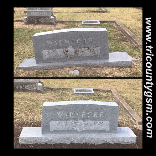 Headstone Leveling and Cleaning - Companion Upright