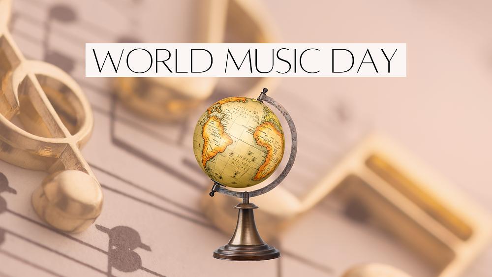 world globe on music background