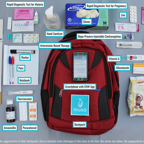 A look inside a Community Health Worker's bag: used to deliver care