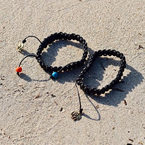 Bracelet coton ciré / ivoire végétale