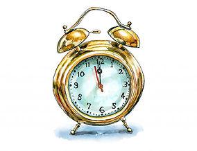 Day-11-Vintage-Alarm-Clock-Gold-Watercol