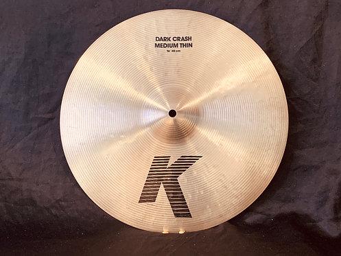 """Zildjian K 16"""" Dark Medium Thin Crash"""